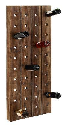 "Farmhouse Wooden Wine Rack Pegboard Wall Mount Bottle Storage Holder Display Home Kitchen Bar Decor, 40 Bottle, 21""x4""x57"""