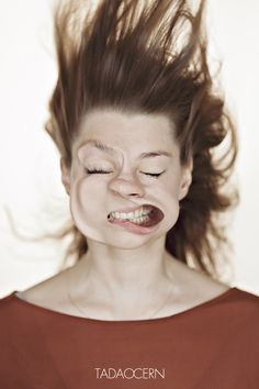 Crazy Photos of Leaf Blower-Attacked Faces by Marina Galperina. Photo credit: Tadas Černiauskas