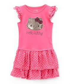 Look what I found on #zulily! Fuchsia Hello Kitty Rhinestone Tiered Dress - Toddler & Girls #zulilyfinds