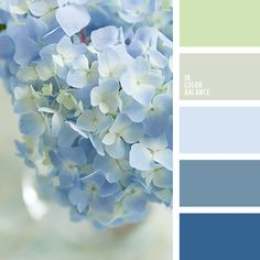 Delicate combination of shades of blue and blue, complemented by bright light olive and pale gray tones. Pastel Paint can be used in creating a bedroom interior, because they are calming, set up on a calm way. It would be appropriate combination of colors in clothes spring clothing for the young woman. These colors give a fresh image, look great on the background of reviving nature.