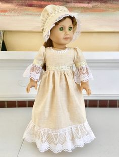 """RESERVED FOR SUSAN This is """"Golden Shamrock"""", a one-of-a-kind, three-piece colonial gown set made for Felicity and Elizabeth, the American Girl dolls of Colonial Williamsburg. The set includes a colonial gown, mob cap, and drawstring purse. It features 4-leaf clovers, which were worn in colonial times for St. Patrick's Day and other celebrations, especially weddings, where good luck was wished for participants. Green clothing wasn't typically worn on St. Patrick's Day until later on, which…"""