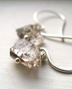 Herkimer Diamond Earrings Ice Winter Wonderland by Vitrine on Etsy