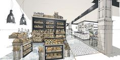 Fenwick Food Hall, Newcastle Sketch by Stephen Richardson 'A recipe for success… Drawing Interior, Interior Rendering, Interior Sketch, Interior Architecture, Interior And Exterior, Interior Doors, Bakery Interior, Recipe For Success, Perspective Drawing