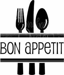 Bon Appetit Silverware Kitchen Wall Quote