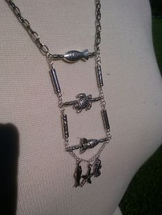 """Silver chain with aquatic ladder focal.  9 1/2"""".  G287.  $37.00"""