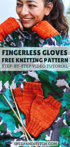 Fingerless Gloves Knitting Pattern (Step-by-Step Tutorial) - Sheep and Stitch This easy fingerless mitten knitting pattern is a fantastic project for knitters who are ready for a new challenge. Fingerless Gloves Knitted, Knit Mittens, Easy Knitting, Double Knitting, Mittens Pattern, Baby Knitting Patterns, Hat Patterns, Challenge, Knitting Projects
