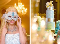 Masked #bride and metallic wedding cake for a fairytale themed #wedding. Visit http://www.modernwedding.com.au/wedding-themes/a-modern-wedding-fairytale/# for more ideas.