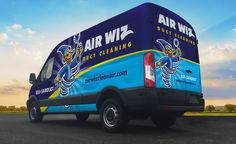 The best vehicle wraps use simple, easy-to-read graphics, as this wrap for Air Wiz Duct Cleaning shows. Van Design, Logo Design, Graphic Design, Truck Lettering, Vehicle Signage, Van Wrap, Duct Cleaning, Plumbing Problems, Website Design Services