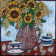 """Yellow Flower Art Print. Sunflowers and Tea - Kitchen Artwork. French Country Decor, Illustration Print - 8x8"""" Yellow Sunflowers."""
