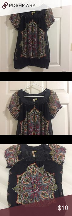 Plus six Sheer blouse 1x sheer black blouse. Gently worn a few times. Eyeshadow Tops Blouses