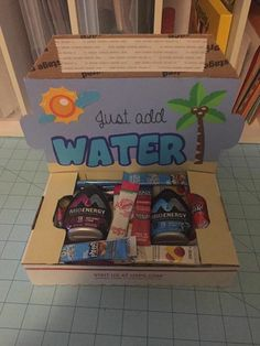 """Just add water small military care package. Perfect for summertime, or supporting an """"adopt a soldier"""" recipient. Missionary Care Packages, Deployment Care Packages, Deployment Gifts, Military Deployment, Military Wife, Adopt A Soldier, Cute Gifts, Diy Gifts, Soldier Care Packages"""