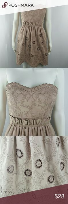 BCBGMAXAZRIA strapless dress Stunning details,  the fabric is a bit shimmery, built in bra, hidden zipper with snap closure over, fully lined, absolutely gorgeous creamy rose color BCBGMaxAzria Dresses Midi