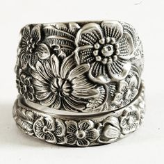 Antique Wild Flower Spoon Ring By Alvin in Sterling by Spoonier