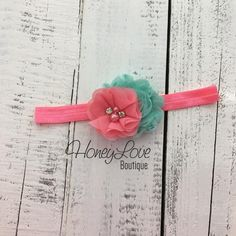 Coral Pink and Mint/Aqua shabby chiffon flower rhinestone pearl headband bow, elastic head band, newborn infant toddler little baby girl by HoneyLove Boutique