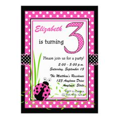 Cute Ladybugs 3rd Birthday - Pink Personalized Invites