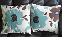 Decorative pillows duck egg blue green brown flowers Cushion covers cases shams fabric UK  18 x 18 inch handmade. $40.00, via Etsy.