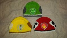 Paw patrol crochet hats.  Rocky (green), Rubble (yellow), Marshall (red)