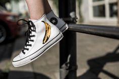 CONVERSE CHUCK TAYLOR ALL STAR WARHOL HI WHITE/BLACK available at www.tint-footwear.com/converse-chuck-taylor-all-star-warhol-hi-149535c converse chuck taylor chucks all star hi high andy warhol pop art banana sneaker tint footwear studio munich