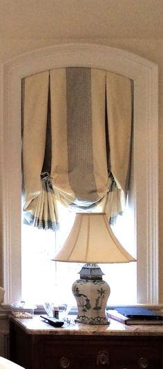 Taffeta window shade ~ I love the dark stripe hidden in the pleat.
