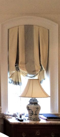 Taffeta window shade ~ I love the dark stripe hidden in the pleat.