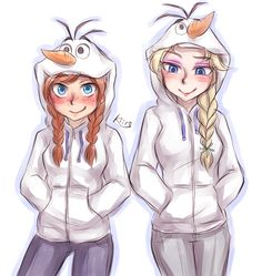 Ally (left) is 14 and has no powers. Averi (right) is 17 and also has no powers. They love to build snowmen together in the winter.