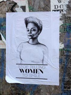 """Stop Telling Women to Smile"" - Tatyana Fazlalizadeh's anti-street harassment art campaign"