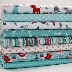 8-X-FQ-BUNDLE-SCATTER-CATS-BLUE-MAKOWER-100-COTTON-FABRIC-quilting-craft
