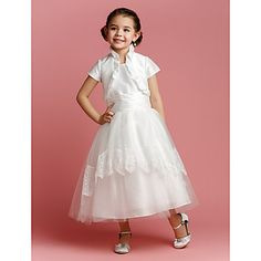 A-line/Princess Jewel Tea-length Taffeta And Tulle Flower Girl Dress (2174401) – USD $ 79.99