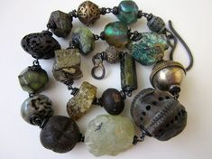 Shimmer and Spin -primitive assemblage teal blue tribal ceramic art bead, glowy Basha bead, trade bead, green garnet, & copper chunky choker by LoveRoot, $138.00