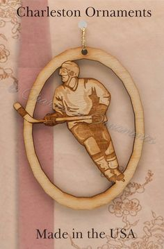 Unique Wooden Ice Hockey Engraved Ornament, FREE CUSTOMIZATION, Ice Hockey Player gift, Ice Hockey Christmas Ornament, Ice Hockey Ornament
