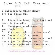 DIY Super Soft & Shiny Hair Treatment - May add a little coconut oil too & zap in micro for 30 secs