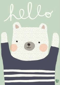 A cute polar bear, perfect as decoration for a nursery or a kidsroom and makes a nice set with poster cat hello. The bear is illustrated by Aless Baylis for Petit Monkey. Off set printed with matt inks on 170 matt paper. Cute Polar Bear, Baby Posters, Kids Poster, Bear Print, Cute Characters, Children's Book Illustration, Nursery Art, Bear Nursery, Cute Art