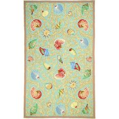 Marcella Fine Rugs - Savory Collection Shell Rugs in Light Blue