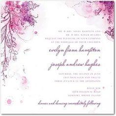 Painterly Passion purple wedding invitation