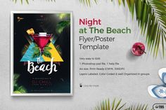 Night at The Beach Flyer Template   The Hungry JPEG
