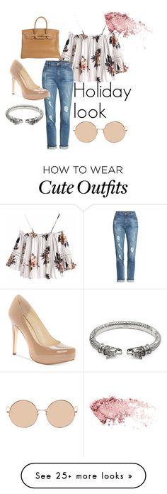 """""""Cute holiday outfit"""" by kmangelgucci3 on Polyvore featuring KUT from the Kloth, Jessica Simpson, Hermès, Linda Farrow and Gucci"""