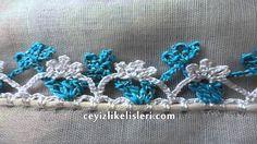 Simli İpten Kolay Tığ Oyası Örneği : Metallic Yarns Easy Crochet Crochet Borders, Crochet Stitches, Easy Crochet, Crochet Lace, Metallic Yarn, Turkish Fashion, Crochet Videos, Crochet Projects, Metallica