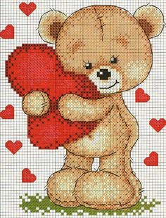 Cross Stitch Heart, Cute Cross Stitch, Cross Stitch Borders, Cross Stitch Animals, Cross Stitch Flowers, Cross Stitch Kits, Cross Stitching, Cross Stitch Embroidery, Cross Stitch Patterns
