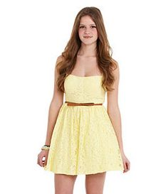 dilliards strapless cute yellow dress is cool Cute Simple Dresses, Cute Yellow Dresses, Dresses For Tweens, Engagement Outfits, Royal Fashion, Girly Girl, Lace Dress, Cool Style, Cute Outfits
