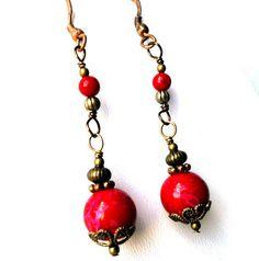 Bascarsija Nights  Red Glass Berries Copper Beads by MajaEarrings, $12.00