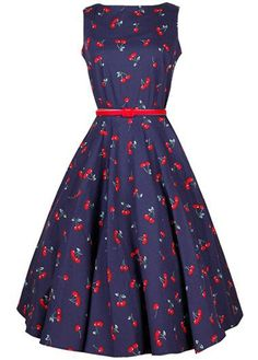 Vintage Cherry Print Sleeveless Swing Party Dress on sale only US$25.43 now, buy cheap Cherry Print High Waist Skater Dress at lulugal.com