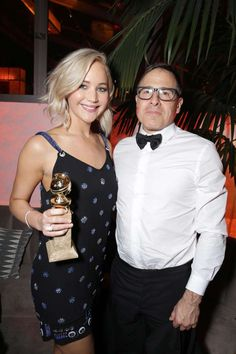 """Jennifer Lawrence and """"Joy"""" director David O. Russell attend Twentieth Century Fox's Golden Globe Aw... - Eric Charbonneau/Invision/AP"""