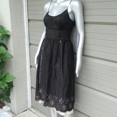 Black Tan Lined Sequin Accented Summer Dress Brand Ann.Taylor Loft  Size 6 100% Cotton Black overlay with Sequins lined Tan  Headline cut out so Tan lining shows thru Side zipper Perfect like new condition Ready to go from my house to yours Bundles available with discounts message me LOFT Dresses