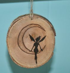 Moon Fairy  Silhouette Tree Slice Ornament by hippiescreations, $10.00