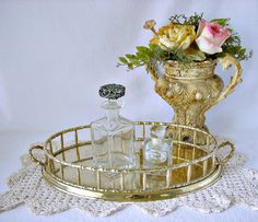Oval Faux Bamboo Brass Serving Gallery Tray with by GSaleHunter, $55.00
