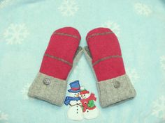 Deep Rose Mittens with Gray Stripes ~ Ladies Size Small ~ All Wool and Lined With Blizzard Fleece by JustThatGood on Etsy