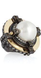LANVIN  Crystal-embellished glass pearl ring