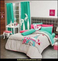 paris themed bedroom | Paris style decorating-Paris theme bedding eiffel tower print