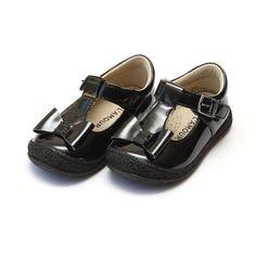 L'Amor Black Patent T Bow Shoes