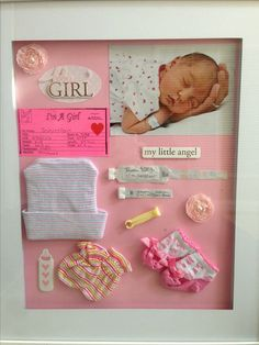 Gather all of the items (your mementos) that you want to include in your baby's shadow box ideas. If you're not sure what to put in your baby's shadow box, here are some ideas: hospital ID bracelets for Mommy, Daddy & Baby; baby's footprints; ultrasound photos; baby's first blanket; baby's hat from hospital; pictures of that first day ...
